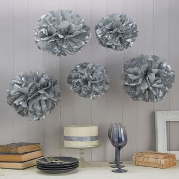Silver Tissue Paper Pom Poms - pack of 5